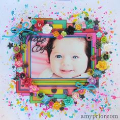 Those Eyes by Amy Prior - Scrapbook.com - Love the atypical bright colors on this sweet baby layout.