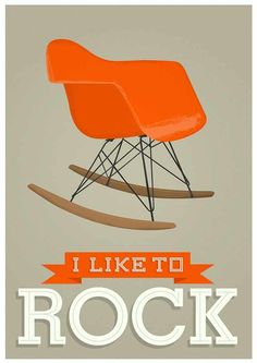 I like to rock, Eames rocking chair poster print by Jan Skacelik
