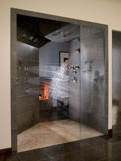Kohler's DTV Custom Showering System features digital water temperature controls, multiple showerheads, hand showers and body sprays.    Lighter colors, but love the shower jets.