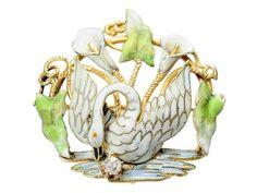 Antique Enamel Swan Brooch & Watch Pin