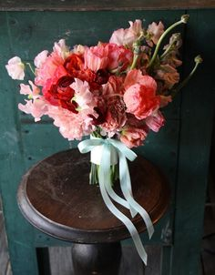 bridal bouquets, ribbon, sweet peas, ranunculus bouquet, flower
