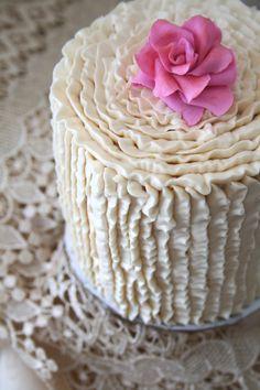 pink flowers, ruffl pipe, ruffle cake, fresh flowers, ruffl cake