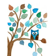 Owl on a Tree  art Print of original watercolor painting, Nursery Art, thejoyofcolor, Baby shower, kids, woodland, Blue aqua brown on Etsy, $21.00