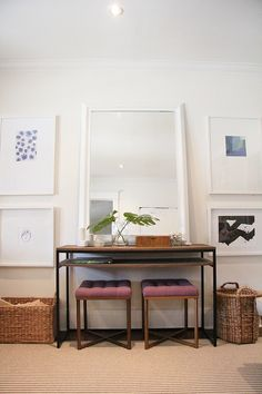 Gallery Wall, Ikea Frames, Target Tufted Threshold Ottomans