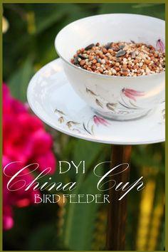 StoneGable: China Tea Cup Bird Feeder | a diy repurposed craft