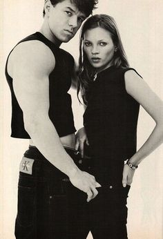 Kate Moss & Marky Mark. Photography by Herb Ritts.