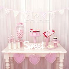 Pretty pink and white dessert table at a Valentine's Day Party!  See more party ideas at CatchMyParty.com! dessert tables, white dessert, sweet tabl, parti idea
