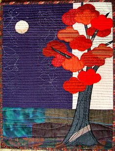 Autumn Home Decor Modern Textile Art by BozenaWojtaszek