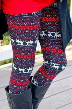 Lovely winter red reindeer leggings for christmas