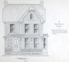 Residence house plan from 1884 Leffel's House Plan book.