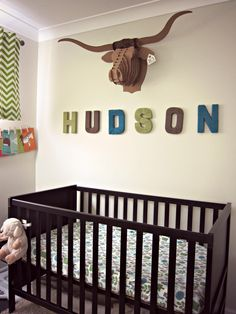 Project Nursery - Boy Neutral Nursery With Deer Paper Taxidermy
