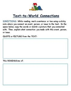 This is a set of activities that include:    Text to Self, Text to Text, Text to World connections. The students will be asked to make connections, making reading more meaningful. In Kelli's case, this would allow her to make connections with words that she feels are important for her to know.