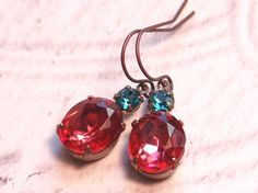 Vintage Earrings Glam - Coral Rose Vintage Glass & Blue Zircon Swarovski Crystals- Estate Style Earrings