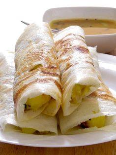 Masala Dosa -- Crispy, Savory Rice and lentil Pancakes with Potato Filling