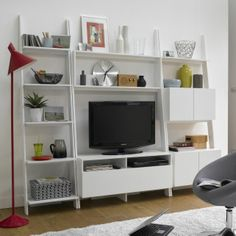 Tv wall on pinterest hemnes tv wall units and tv storage - Etagere echelle ikea ...