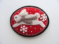Beaded Felt  Snowflake Bunny Pin