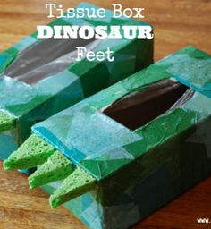 Recycled tissue box dino feet @Mitzi Flade Sampson Ward Cockrell I thought of you, and could imagine xander in these. lol