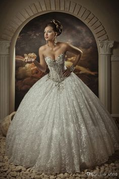 Sweetheart Ball Gown Wedding Dresses with Bling | Sweetheart Ball Lace Bling Crystals Beaded See Through Corset Wedding ...