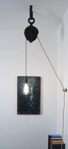 Antique Cast Iron Pulley Lamp - Vintage Industrial Edison Fixture