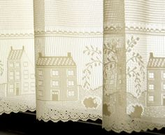 "Detail of a country scene gives the ""Country Willow"" a perfect setting for a Kitchen Curtain."