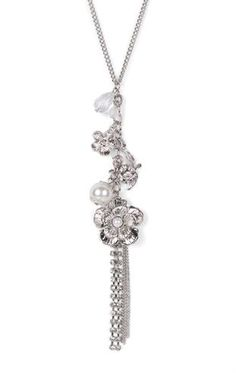 Deb Shops Long #Necklace with Charms and Chain Fringe $5.00