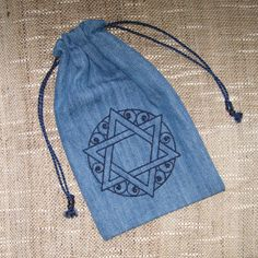 Filigree Star of David Embroidered Tiny Tote Pouch Purse Organizer #Jewish gifts