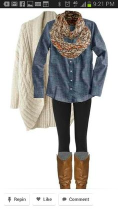 Jean shirt, knitted cardigan Cute, but I don't know if I'd wear it :/