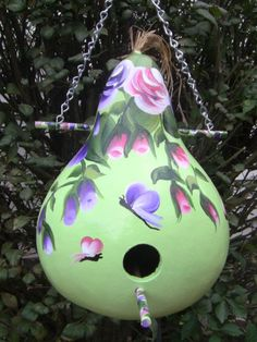 Eye Catching Roses & Buds  Birdhouse Gourd by inmypaintedgarden, $24.95