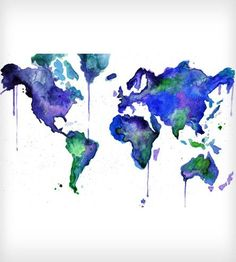 Earth In Technicolor Watercolor Print