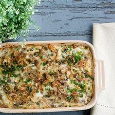 Truffled Tuna Noodle Casserole with Crispy Shallots & a White Wine Mushroom Sauce