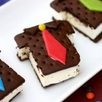 Shirt & Tie Ice Cream Sandwiches. Cute idea for Fathers Day.