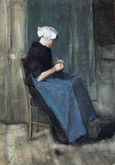 van gogh, Woman Knitting, December 1881  (Private collection)