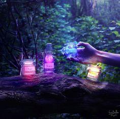 Incredibly Enchanting Surreal Worlds by Vincent Bourilhon magic, dream, art, vincentbourilhon, vincent bourilhon, bottles, enchant, light, jars