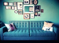 #EQ3Spotted! Kate's teal vintage mod living room. #Reverie #Sofa | blog.eq3.com