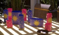 Brightly colored tangled paper lanterns
