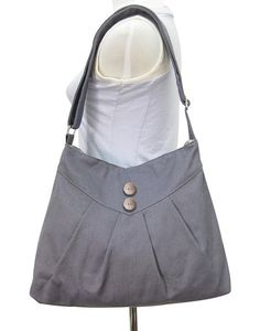 Gray purse / cross body bag / messenger bag / shoulder bag / diaper bag  - cotton canvas