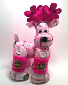John Deere stuffed Deer -  Pink plaid with pink- Decorative stuffed deer - One of a kind. $12.00, via Etsy.