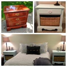 Refinished bedside tables - I might be doing this if I pick up a table I am watching on eBay... Maybe a bright colour for C's room!