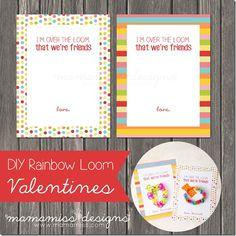 DIY Rainbow Loom Printable Valentines | @mamamissblog #rainbowloom #loomcrafts #DIYvalentines