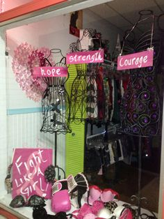 Breast cancer Window display. Fight like a girl