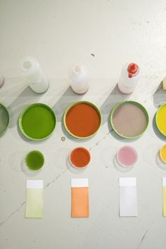"""Raw Color: """"A visual research about vegetables and their powerful color. Vegetables are dismantled and purified to their visual essence 'RAW COLOR'. The harvested color is captured by a new process preserving their intensity on color cards..."""""""