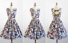floral parti, 1950s dresses