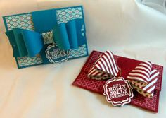 Stampin Up bow die card - would be great for a gift card on a present