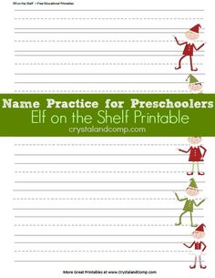 Name Practice for Preschoolers using Elf on the Shelf Printable