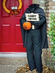 Give trick-or-treaters and Halloween party guests a (slight!) scare with this smaller-than-life-size headless horseman figure. Add his jack-o'-lantern head to one hand and a sign leading the way to the festivities in the other.