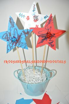 star center piece for memorial day or forth of july-kids craft