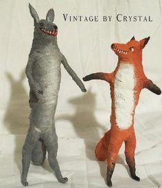 Vintage by Crystal, spun cotton, handmade, fox, wolf.... <3