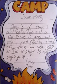 """Letter from """"P.S. I Hate It Here, Kids' Letters from Camp"""""""
