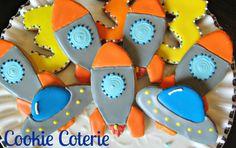 Spaceship Astronaut Rocketship Decorated Cookie Favors One Dozen