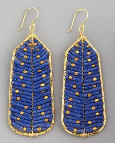 blue, bead earring, beaded earrings, tribal earrings, gold earrings